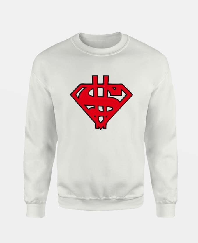 dollar-superman-baskili-unisex-sweatshirt-beyaz