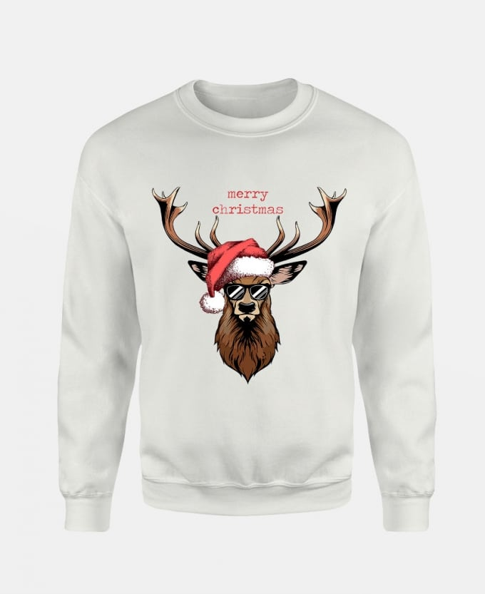 merry-christmas-deer-baskili-unisex-sweatshirt-beyaz