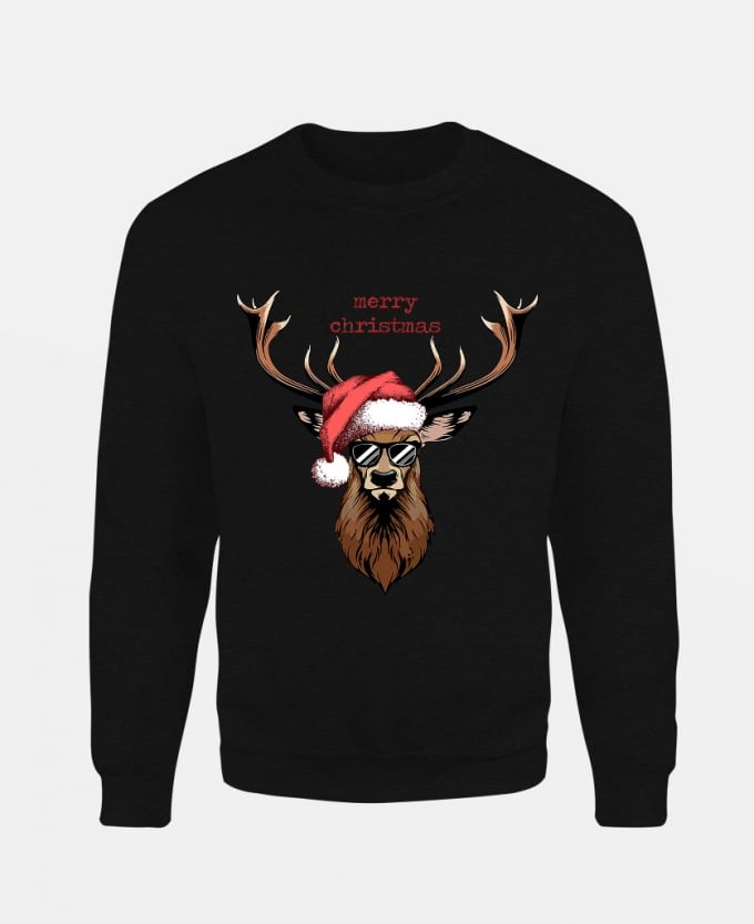 merry-christmas-deer-baskili-unisex-sweatshirt-siyah