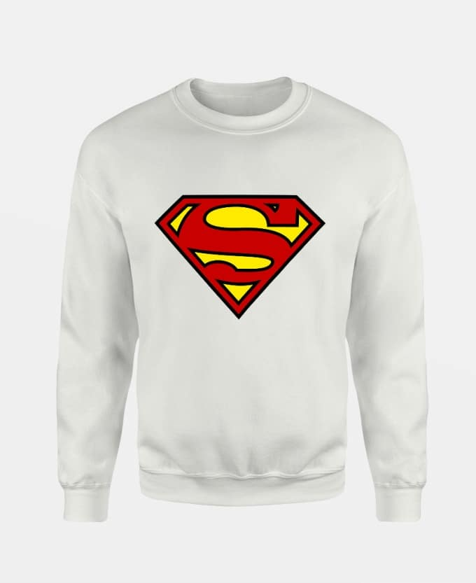 superman-logo-baskili-unisex-sweatshirt-beyaz